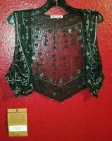 TRUE RELIGION Women's Black Vest Shrug Handmade Beaded New with Tags One Size