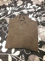 Zegna Sport Men's 1/4 Zip Pull Over Sweater Size XL Brown LanaWool