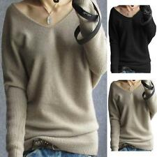 Fashion Women Loose Top V Neck Long Sleeve Cashmere Pullovers Shirt Blouse S-XXL
