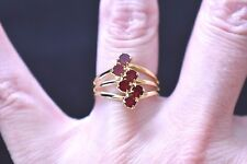 Adjustable Red Rhinestone Cocktail Ring Three Band Gold Tone Size 6.5 - 8