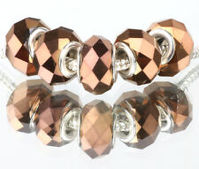 5P MURANO Multi-faceted Crystal bead LAMPWORK fit European Charm Bracelet #B527