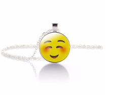 Blush Emoji Crystal Glass Pendant Necklace Jewelry Gift Bag- Silver