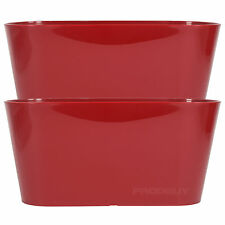 Set of 2 Red Oval Indoor Plant Pot Covers Planters Herb Troughs Window Boxes