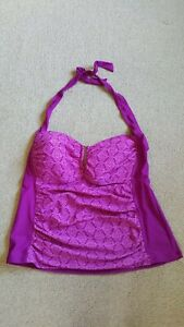 Womens Bathing Suit-COLLECTIONS-CATALINA-purple patterned tankini top halter-2X