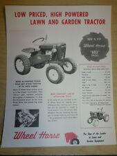 VINTAGE 1962 WHEEL HORSE 6 HP TRACTOR 603 Special SPEC SHEET SALES BROCHURE