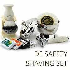 5 Piece Shaving Gift Kit for Men DE Safety Razor, Synthetic Hair Shaving Brush