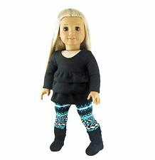 Doll Clothes Ruffled Top and Alpine Print Leggings fit 18 inch American Girl