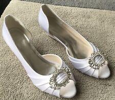 Efecto De Satén Blanco Cuña Zapato De Boda Talla 39. Peep TOE. nuevo En Caja