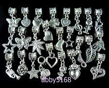25pcs Heart Flower Butterfly Mix Dangle Charms Fit European Bracelet ZN03
