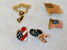 Vtg Flag Lapel Pin Lot Of 4 American Red White Blue Pins Usa & 1 Pta Pin