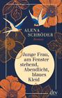 Junge Frau, am Fenster stehend, Abendlicht, blaues Kleid - Schröder, Alena
