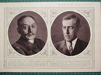1915 WWI WW1 PRINT ~ PRESIDENT WILSON ~ AMERICAN STATESMEN DR WALTER PAGE