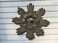 "Vintage Art Deco Copper Painted Starburst Mirror 16"""
