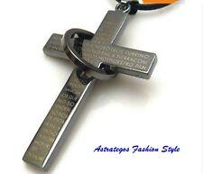 Halskette mit großem Kreuzanhänger, beschriftet mit spanischem Vaterunser