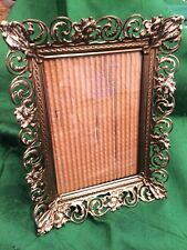 Vintage Metal Embossed Photo Picture Frame Table Top Style   Holds 4.5x6.5