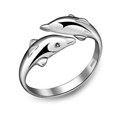 925 STERLING SILVER PLATED ADJUSTABLE THUMB/FINGER  RING FOR WOMEN DOUBLE DOLPH