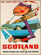 Only Hours Away Scotland Scottish Trans-Canada Vintage Travel Art Poster Print