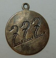 """Love Token / Pendant Engraved with Initials """"Cro"""" on one side """"222"""" on other"""