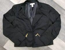 Chico's Womens Black Open Front Career Blazer Jacket Zipper Pockets Size 0 Small