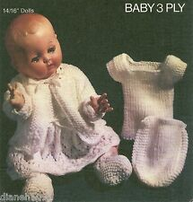 "Doll Clothing Knitting Pattern For The 14/16"" Doll 5 Piece Outfit Dress & More"