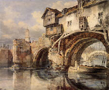 Puente de Gales Shrewsbury de Joseph Turner Giclée Impresión Sobre Lienzo/ fino