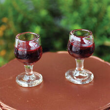 Miniature Red Wine Glasses Set  2  GO 16563  Dollhouse Fairy Faerie Gnome Garden