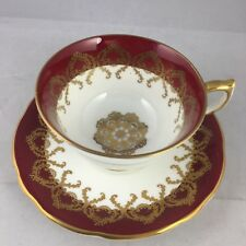 Aynsley Cobalt Red Scroll Drapery Cup and Saucer Teacup England