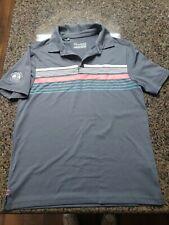 EUC Boys Youth Medium YMD Under Armour Gray Black Heat Gear Golf Polo Shirt