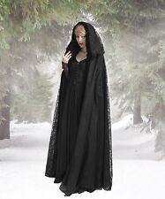 GÓTICO MEDIEVAL Capa medieval Cloak abrigo capa Capucha Negra Terciopelo Encaje