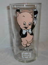 1973 Porky Pig Pepsi Glass LUN BL Thin Logo Under Name Short 12 once