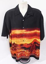 Men's 7 DIAMONDS Black/Orange Chinese Designs Casual Short Sleeve Shirt RN101880