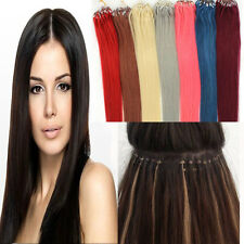 """16-26"""" Micro Ring Beads Loop Tip Brazilian Remy Human Hair Extensions Straight"""