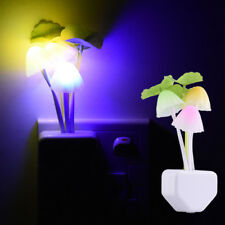 Sensor Night Lights Flower Mushroom LED Lamp Bedroom Colorful Decor EU/US Plugs