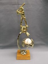 male Baseball trophy on theme riser spinning white ball solid wood base