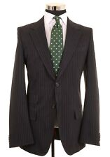 Hugo Boss Red Label - Black Pinstripe Cotton Wool Blend Blazer Coat Jacket 40 L
