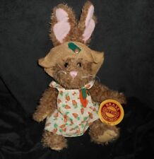 "BRASS BUTTON ""FLORA"" BROWN BUNNY RABBIT STUFFED ANIMAL PLUSH TOY NEW W/ TAG"