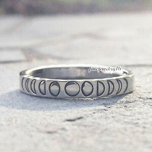Phases of the Moon Stacking Ring 925 Sterling Silver Hand Stamped Silver Ring