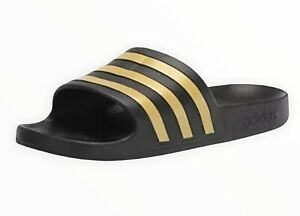 Adidas Slides Adilette Aqua Slides Black and Gold  Size 12