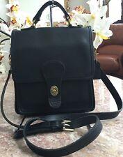 Vintage Coach 5130 Black Leather Station Cross Body Handbag Purse EUC