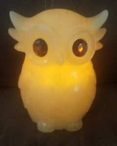 "Vintage Owl Bird Animal Wax faux Candle Statue Figurine Retro Decor 5 1/2"" tall"