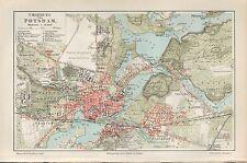 Landkarte map 1896: POTSDAM UND UMGEBUNG. Brandenburg Havel Sanssouci