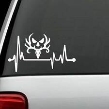 M1089 Deer Skull Bone Collector Heartbeat Lifeline Decal Sticker Antlers Hunting