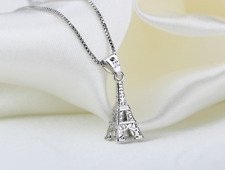 "3D Paris ""The Eiffel Tower"" 925 Sterling Silver Pendant Necklace"