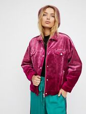 $168 NEW Free People 'Velvet Trucker Jacket' In Pink Size M/L~NWT