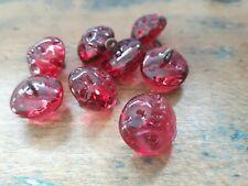 ♥Nr. 162 -4 Stück tolle alte Glasknöpfe Lampwork rot mit Muster DM 15 mm ♥