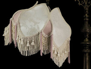 BRIDGE ARM VICTORIAN UNO LAMP SHADE IVORY WITH PINK SILK AND FRINGE BEADING