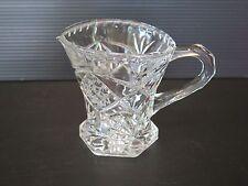 SMALL HEAVY CUT GLASS MILK JUG/CREAMER WITH PINEAPPLE PATTERN