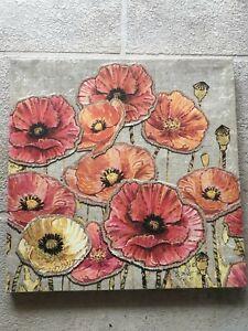 "Chad Barrett Full size Lithograph on Canvas ""Linen Poppy Feild"""