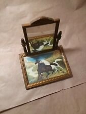 New listing Vintage Wood Framed Wild Horses Vanity Tray with Wood Framed Swing Mirror