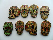 24 pcs Mixed Large SKULL Patterned Wood  Scrapbooking // Sewing Buttons  25mm